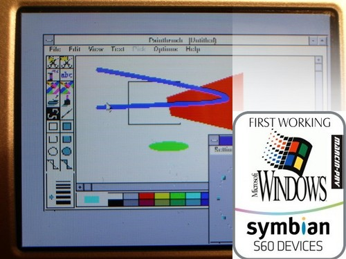 Paint in MS Windows 3.1 running on N95 (Pic courtesy : www.frazpc.pl)