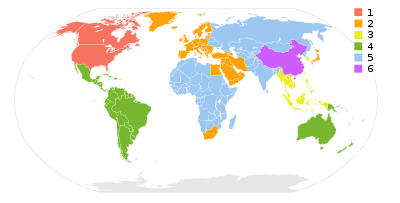 DVD Region Codes on World Map
