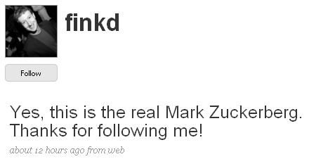 Mark Zuckerberg's Public Twitter Account