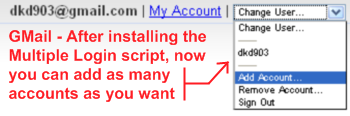 gmail after installing the multiple google account login script