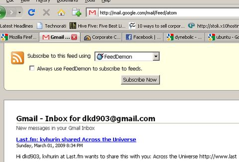 gmail inbox subscribe feed screenshot - digitizor