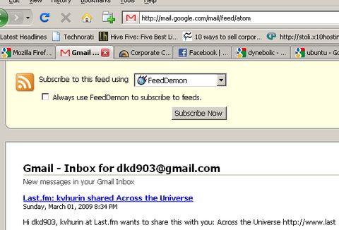 gmail inbox subscribe feed screenshot - digitizor