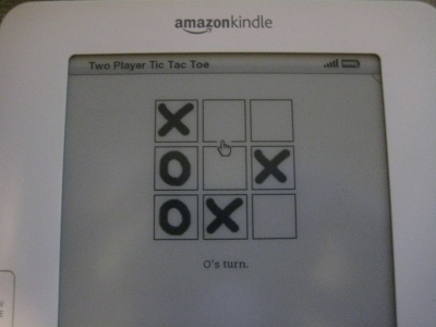 Screenshot of the Tic-Tac-Toe game on the Amazon Kindle 2