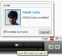 lastfm support for Songbird. You can also love tracks from Sonbirdp player itself