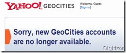 yahoo geocities dicontinued website screenshot